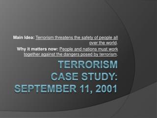 Terrorism Case Study: September 11, 2001