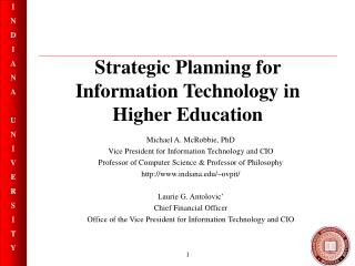Strategic Planning for Information Technology in Higher Education