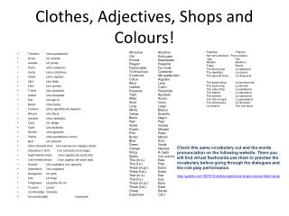 Clothes, Adjectives, Shops and Colours