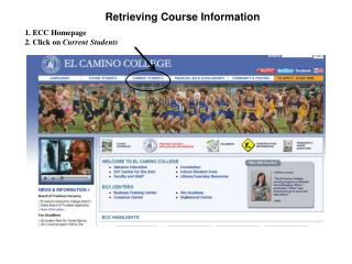 1. ECC Homepage 2. Click on Current Students
