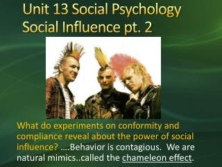 Unit 13 Social Psychology Social Influence pt. 2
