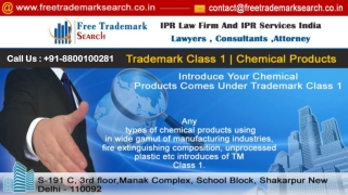 Trademark Class 1 | Chemical Products