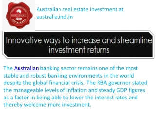 Australian real estate investment at  australia.ind.in