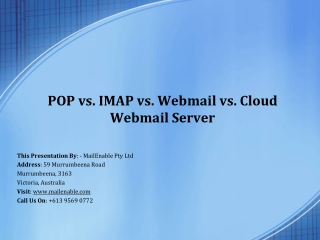 POP vs. IMAP vs. Webmail vs. Cloud Webmail Server