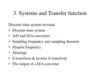 3. Systems and Transfer function