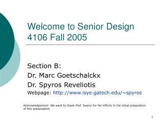 Welcome to Senior Design 4106 Fall 2005