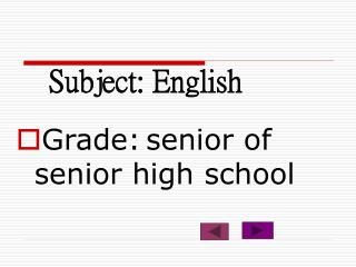Subject: English