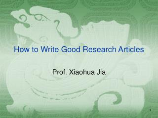 How to Write Good Research Articles