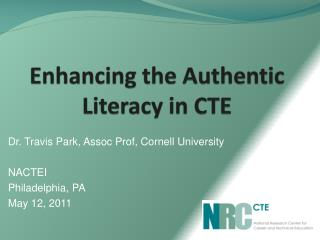 Enhancing the Authentic Literacy in CTE