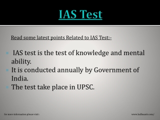 Here is more knowledge about IAS Test