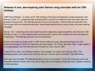 Release of rare, awe-inspiring John Denver song