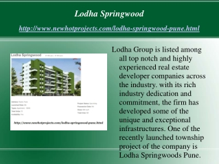 Lodha Springwood Best Residential Apartments with reasonable