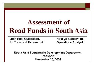 Assessment of  Road Funds in South Asia