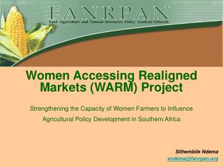 Women Accessing Realigned Markets WARM Project   Strengthening the Capacity of Women Farmers to Influence Agricultural P