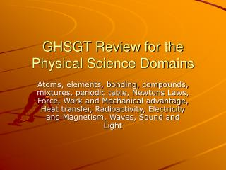 GHSGT Review for the Physical Science Domains