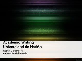Academic Writing  Universidad de Nari o