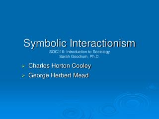Symbolic Interactionism SOC110: Introduction to Sociology Sarah Goodrum, Ph.D.