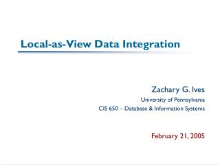 Local-as-View Data Integration