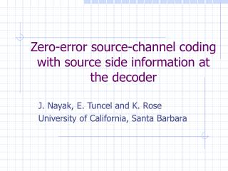 Zero-error source-channel coding with source side information at the decoder