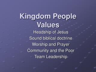 Kingdom People Values