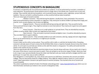 STUPENDOUS CONCERTS IN BANGALORE