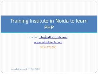 Training in Noida to Learn PHP