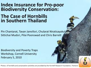 Index Insurance for Pro-poor Biodiversity Conservation: The Case of Hornbills in Southern Thailand  Pin Chantarat, Tavan