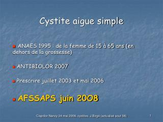 cystite aigue simple