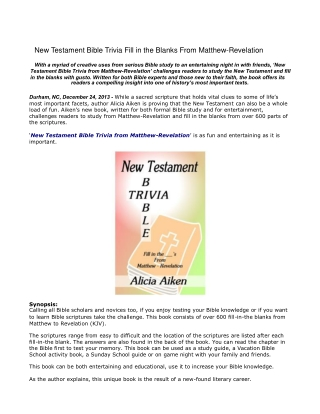 New Testament Bible Trivia Fill in the Blanks From Matthew-R