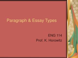 Paragraph  Essay Types