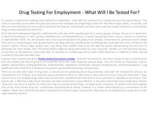 florida drug testing for employment