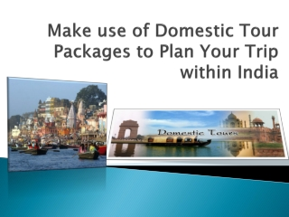 Make use of Domestic Tour Packages to Plan Your Trip within