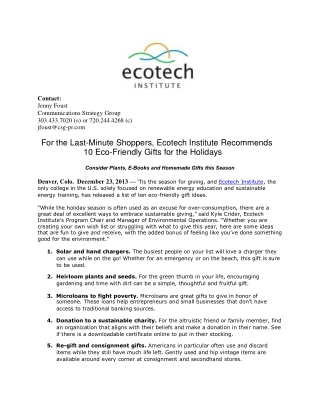 For the Last-Minute Shoppers, Ecotech Institute Recommends