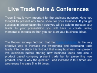Live Trade Fairs