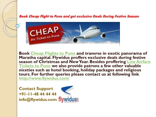 Flywidus.com offer you best deal on Pune air tickets booking