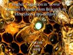 Higher  Cognition in  Lower  Animals: Evidence from Research on Honeybees Apis mellifera