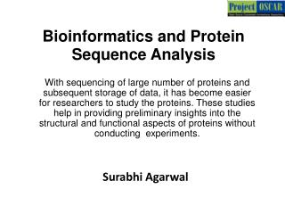 Bioinformatics and Protein Sequence Analysis