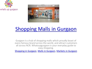 Shopping Malls in Gurgaon
