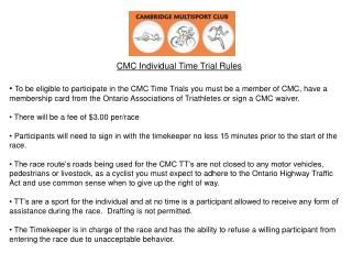 CMC Individual Time Trial Rules