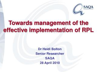 Towards management of the effective implementation of RPL