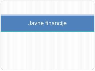 Javne financije