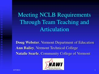 Meeting NCLB Requirements Through Team Teaching and Articulation