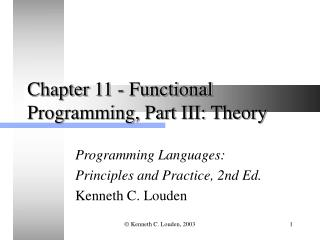 Chapter 11 - Functional Programming, Part III: Theory