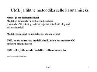 UML ja lihtne metoodika selle kasutamiseks