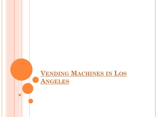 Vending Machines Companies