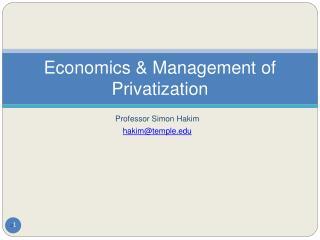 Economics  Management of Privatization