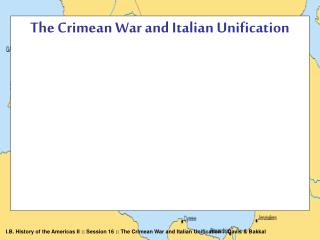 The Crimean War and Italian Unification