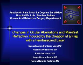 changes in ocular aberrations and manifest refraction induced by the creation of a flap with a femtosecond laser