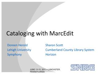 Cataloging with MarcEdit