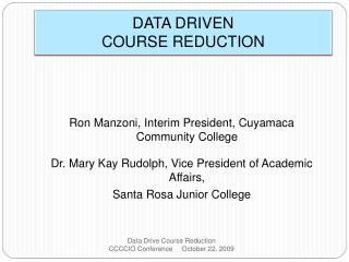 DATA DRIVEN COURSE REDUCTION